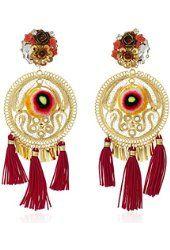 Mercedes Salazar Gold and Red Tassel Pom Pom Floral Clip-On Earrings