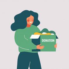 Volunteer woman holds donation box with ... | Premium Vector #Freepik #vector #people #woman #green #box