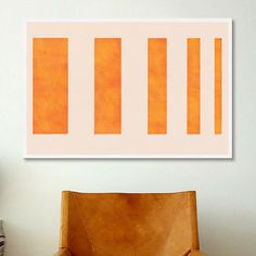 iCanvas Modern Art Orange Levies Painting Print on Canvas | AllModern