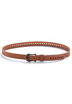 perforated hearts, faux leather belt.