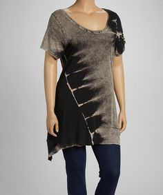 Take a look at this Black & Gray Mineral Tie-Dye Scoop Neck Sidetail Top - Plus by Urban X on #zulily today!
