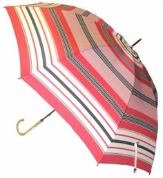 Red Stripe Umbrella, classic style to stay dry. Available @ www.let-it-rain.com