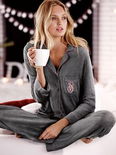 $39 (medium - regular length) in black, heather grey, angel pink, or black/white dot - The Sleepover Knit Pajama - Victoria's Secret