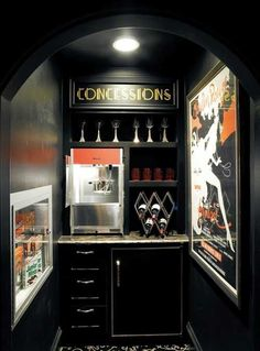 20 Home Cinema Interior Designs Interiorforlife.com Mini fridge lighting signage popcorn maker
