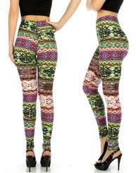Plus Size 2X/3X - Jungle Craze Geometric Print Stretch Leggings
