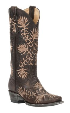 Cavender's by Old Gringo Women's Chocolate Goat with Tan Floral Embroidery & Studs Snip Toe Western Boots | Cavender's