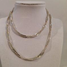 Vintage Sterling Silver 925 Twist Curb Link Chain by JewelryGeeks, $79.99