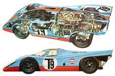 Cutaway - The Porsche 917K were built with a spatial welded aluminum body, weighing 1760 lbs.