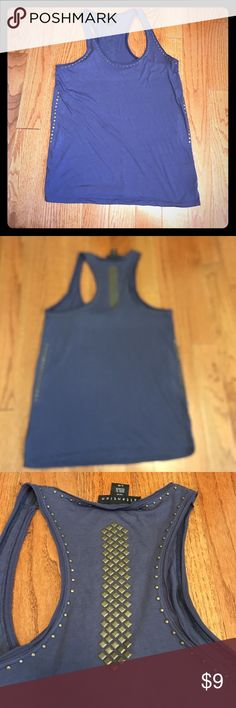 Blue studded tank Dusky blue tank with bronze studwork around neck, sides and back. Racer back. EUC Attention Tops Tank Tops