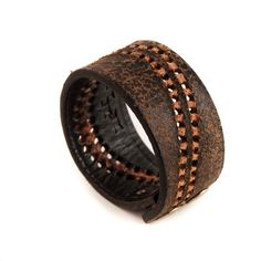 Men's Black Leather Cuff Wristband Gift for Him