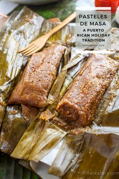 "Pasteles are a delicious traditional dish served in Puerto Rican during Christmas. Seasoned taro root & plantain ""masa"" filled with savory pork. Puerto Rican Recipes, Cuban Recipes, Pasteles Recipe, Puerto Rican Christmas, Puerto Rico, Taro Root, Boricua Recipes, Cube Steak Recipes, Dominican Food"