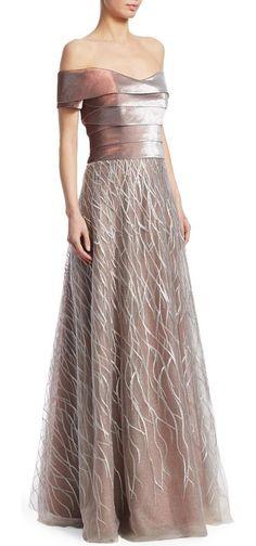 5e24d394c84b Rene Ruiz Off-The-Shoulder Embellished Gown