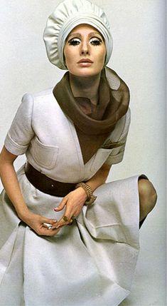 1968 Alberta Tiburzi in white pique dress by Fontana