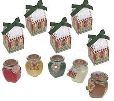 Set of 5 Sugar n Spice Candles with GiftBoxes  by Valerie - Designed by Gina Jane for Valerie Parr Hill.  Gina Jane's Gingerbread Cookies collection artwork available at DAISIE Company.