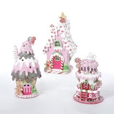 Set of 3 LED Lighted Ice Cream, Cake and Gingerbread House Christmas Decorations Candy Land Christmas, Christmas Gingerbread House, Polymer Clay Christmas, Pink Christmas, Christmas Colors, Christmas Themes, Christmas Crafts, Christmas Decorations, Christmas Ornaments