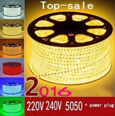 220V 240V SMD 5050 led strip flexible light 5m 10m 15m 20m 100m warm white/white/RGB Power plug 60leds/m waterproof led Strips  Price: 7.00 & FREE Shipping  #tech|#electronics|#bluetooth|#computers
