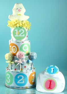 First Year Baby Shower Cake with stickers for monthly pictures! SUBG