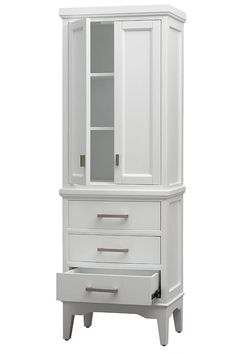 Home Decorators Collection Manor Grove 22 in. W x 15 in. D x 65 in. H Bathroom Linen Cabinet in - The Home Depot Bathroom Linen Closet, Bathroom Linen Cabinet, Linen Cabinets, Small Bathroom, Linen Closets, Bathroom Corner Storage Cabinet, Clever Bathroom Storage, Design Bathroom, Bathroom Furniture