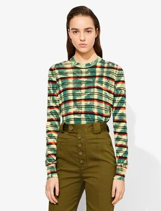 TEAL Natural (Veg)->Cotton Long Sleeve Tie Dye Crewneck from Proenza Schouler. Teal Tie, Striped Knit, Green Stripes, Proenza Schouler, Knitwear, Fitness Models, Ready To Wear, Tie Dye, Crew Neck