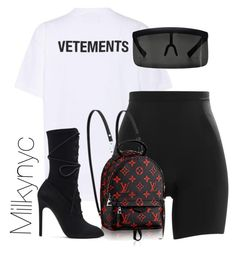 """Untitled #1017"" by milkynyc ❤ liked on Polyvore featuring Vetements, SPANX, Mykita and adidas Originals"