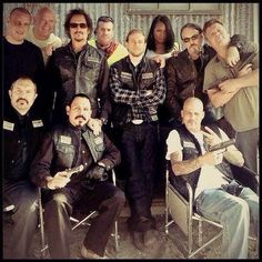 Some of the cast of Sons of Anarchy and crew
