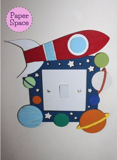 Space lightswitch surround, space themed bedroom decor, lightswitch surround, planets rocket and stars light surround.