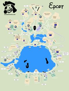 Great map of Epcot with Fastpass plus locations, rides, shows, characters, dining and shopping locations - from KennythePirate