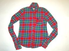 Abercrombie & Fitch Kid Navy Red Green Plaid Moose Button Flannel Shirt Girls L #AbercrombieFitch #EverydayHoliday