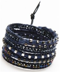 5 Time Leather Wrap Bracelet With Crystal And Rhinestones