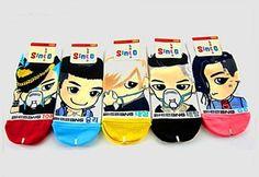 BIG-BANG-KPOP-bigbang-White-K-POP-Ankle-Socks-5-pairs-size-6-9-Multi-Color-Socks