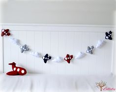 Airplane garland - banner - bunting - airplane wall hanging - nursery decor - crimson, smoke gray and navy blue - MADE TO ORDER