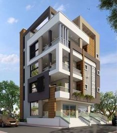 27 new Ideas for apartment facade architecture projects Residential Building Design, Architecture Building Design, Modern Architecture House, Facade Design, Exterior Design, Cafe Exterior, Building Facade, Modern Exterior, Modern Buildings