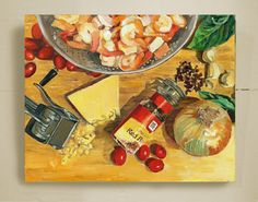 "Tile Art. Food Painting. From Oil Painting. 8"" x 6"". Recipe Painting. Spicy Shrimp. Laminated Giclee. Ceramic Tile Art. Kitchen Art. Hanger."
