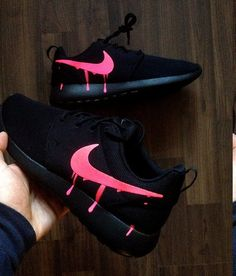 Customized nike roshe one with custom pink candy drip swoosh paint the base shoe used is the nike roshe triple black or nike roshe two triple black or gs Cute Sneakers, Sneakers Mode, Sneakers Fashion, Shoes Sneakers, Black Nike Sneakers, Women's Shoes, Fashion Outfits, Jordan Shoes Girls, Girls Shoes
