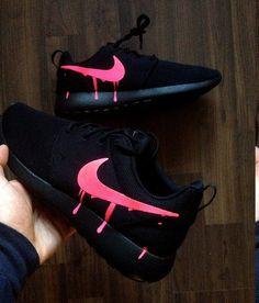Nike Roshe Triple Black with Custom Pink Candy Drip Swoosh Paint