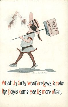 Vintage anti-suffrage poster. All women care about is men!