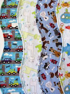 Burp Cloths Baby Boy Contoured Large Soft Double Flannel Mix Or Match Handmade #Handmade #contouredburp