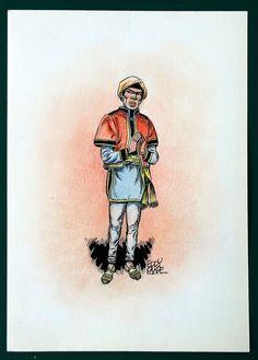 Paape, Eddy - Originele tekening in kleur - w.b.