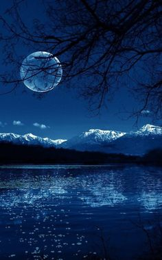 Blue moon on the water
