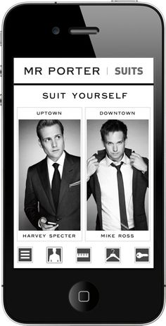 """'Suits' tv show app called """"Suit Yourself"""". Dress for uptown like Harvey, or for downtown like Mike. How lovely."""