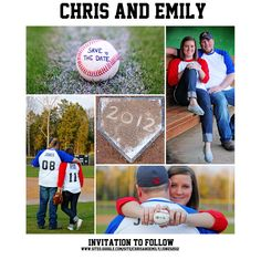 Baseball Wedding Save the Date for all the friends from past teams Baseball Engagement Photos, Engagement Pictures, Engagement Ideas, Baseball Photos, Wedding Save The Dates, Our Wedding, Dream Wedding, Spring Wedding, Save My Marriage