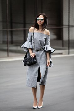 CHICWISH Classy Grey Twill Dress with Frilling Sleeves, Chicwish collaboration, gray dress, frilling sleeves, sleeves style, summer style, girl boss, street style, editorial, B-Low the Belt 'Barcelona' Studded Leather Belt
