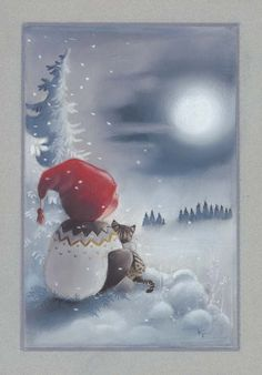 """From the """"Adventures of Pukkutonttu"""" series, no 8 -- of Finnish Christmas cards -- by Kaarina Toivanen Christmas Clipart, Christmas Printables, Kids Christmas, Christmas Crafts, Illustration Noel, Christmas Illustration, Illustrations, Vintage Christmas Images, Christmas Pictures"""
