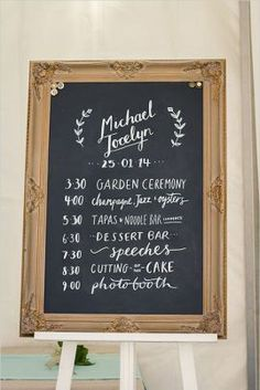 wedding chalkboard signs - schedule of day