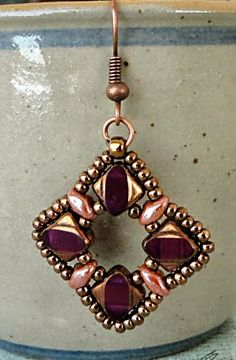 Silky Squares Earrings - Amethyst Copper samples