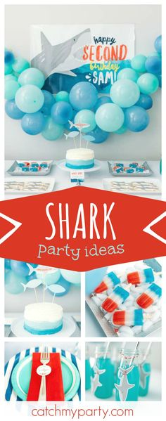 Check out this fun Shark inspired Jawsome birthday party. The dessert table and decor are awesome!! See more party ideas and share yours at CatchMyParty.com