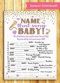 This is a super fun, printable and interactive game for your baby shower. Print as many as you need right from home or your nearest print shop! *ANSWER SHEET IS INCLUDED* ** THIS LISTING IS FOR A DIGITAL FILE ONLY - NO PHYSICAL PRODUCTS WILL BE SHIPPED TO YOU ** WHAT'S INCLUDED: