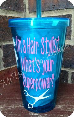Hair Stylist Tumbler-16 oz. Personalized Acrylic Tumbler-I'm a Hair Stylist. What's your Superpower- on Etsy, $12.00