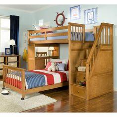 Lit superposé avec escalier en bois