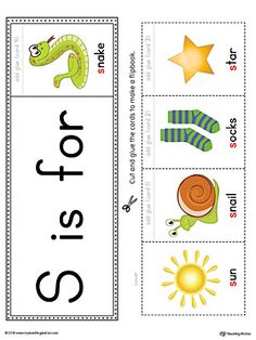Letter S Beginning Sound Flipbook Printable (Color) Worksheet.The Letter S Beginning Sound Flipbook in Color is the perfect tool for learning and practicing to recognize the letter S and it's beginning sound. Letter S Activities, Letter S Worksheets, Jolly Phonics Activities, Phonics Flashcards, Flashcards For Kids, Preschool Letters, Phonics Worksheets, Preschool Phonics, Phonics Cards